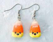 Kawaii Candy Corn Earrings :D. via Etsy.