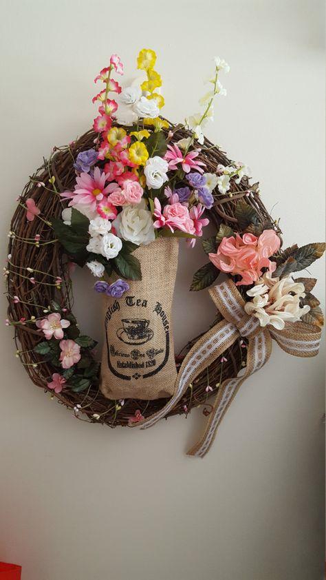 English Tea Wreath Burlap English Tea Bag English Tea Spring