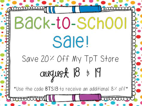 Back-to-School TPT Sale! Up to 28% off everything in my store!