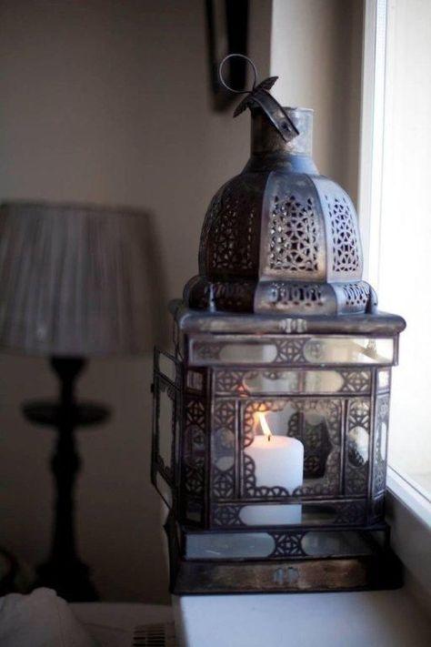 Set di 2 VINTAGE Marocchina Lanterna portacandele MORESCA Giardino Antico Tea Light