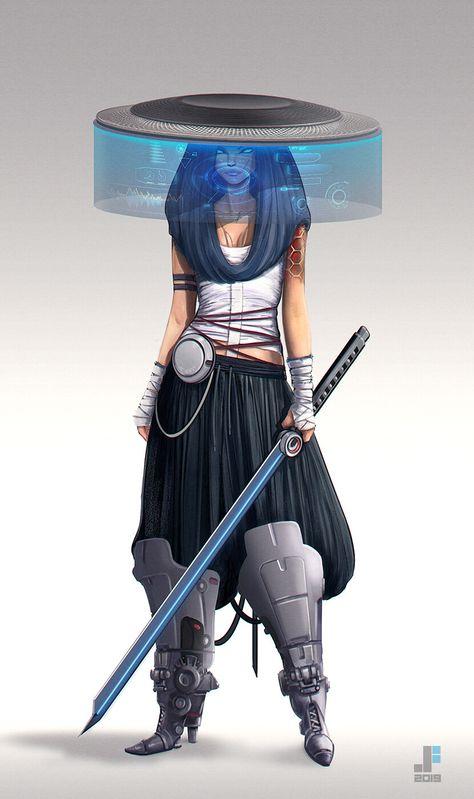 Neo Warrior by Jeffrey Ferreira : Cyberpunk Mode Cyberpunk, Cyberpunk Kunst, Cyberpunk Girl, Cyberpunk Aesthetic, Cyberpunk Anime, Female Character Design, Character Art, Samurai Art, Sci Fi Characters