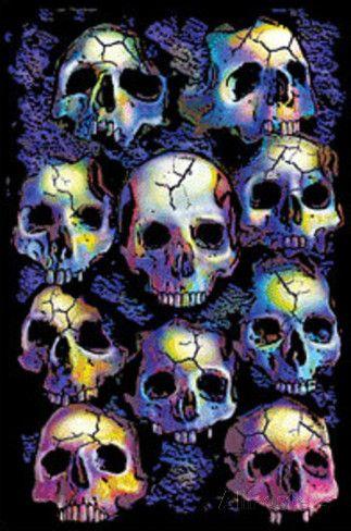 Wall of Skulls Blacklight Art Poster Print Blacklight Poster 24 x