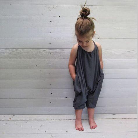 Kids Girls Jumpsuits Soft - Gray / 6T