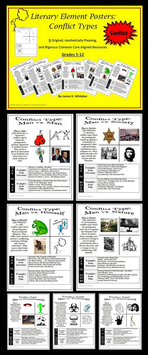 Conflict Literary Element Posters and Activity Common Core
