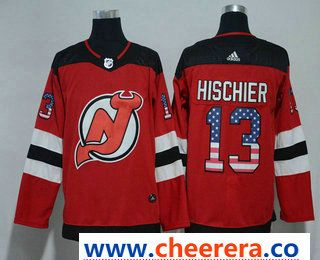 brand new acfa8 a1a2c Men's New Jersey Devils #13 Nico Hischier Red with USA Flag ...