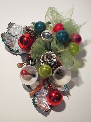 Vintage Christmas Mercury Glass Ball Pinecone Floral Corsage . I think I have one almost like this!