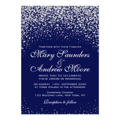 Elegant Silver Confetti On Royal Blue Invitation Silver Wedding Invitations Blue Invitation Royal Blue Wedding Theme