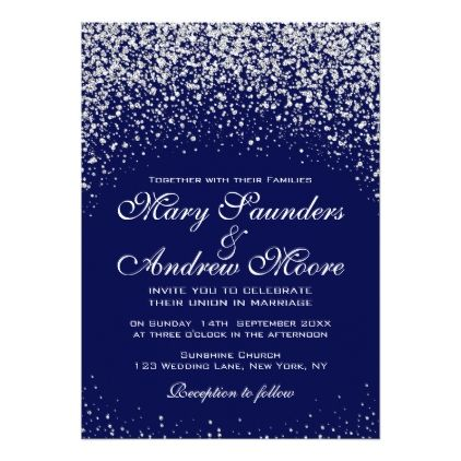 Elegant Silver Confetti On Royal Blue Invitation Blue Invitation