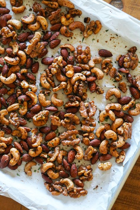 Baked Mixed Nuts http://www.kitchenkonfidence.com/2014/10/rosemary-spiced-mixed-nuts-2014