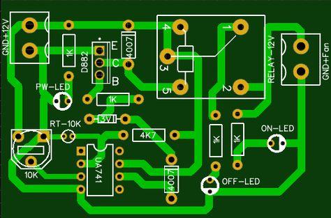 Temperature Controlled Dc Fan Pcb Circuit Electronic Circuit Projects Temperature Control