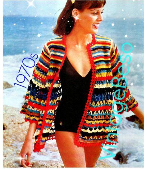 0cb2135299 Beach Jacket CROCHET Pattern Vintage 70s Cover Up Retro | horgolás ...