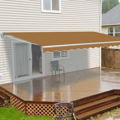 Aleko 10 Ft W X 8 Ft D Fabric Retractable Standard Patio Awning Wayfair Patio Awning Carport Patio Patio