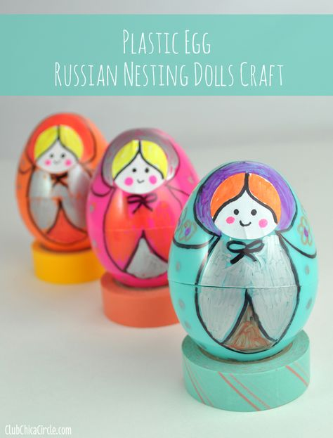 Russian Nesting Dolls made from Plastic Easter Eggs