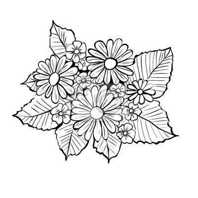 Recznie Rysowane Kwiaty Czarno Bialy Bukiet Z Stokrotkami Na Obrazach Myloview Najlepszej Jakosci Fototapety Naklejki Obrazy Plakaty Tapety Chcesz Ozdobi