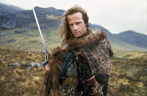"Christopher Lambert as Connor MacLeod in ""Highlander""."