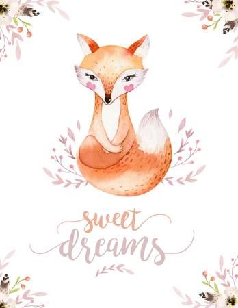 Image de la catégorie Cute baby fox, deer animal nursery rabbit and bear isolated illustration for children. Watercolor boho forest drawing, watercolour, hedgehog image Perfect for nursery posters Image 107672027.