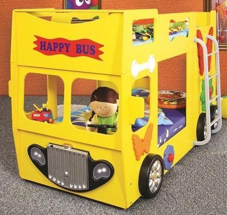 Kinderbett junge bus  Gelbes Etagenbett in der Form eines Busses für Kinder. #Etagenbett ...