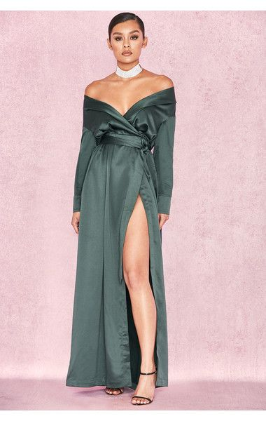 a1bce49e266 Clothing   Max Dresses    Antoinette  Evergreen Satin Off Shoulder Maxi  Wrap Dress
