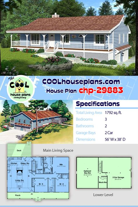This economical 3-bedroom 2-bathroom ranch house plan can ... on split-level house plans garage under, ranch house plans drive under garage, ranch house plans with front entry garage, ranch home front porch gable plans, ranch house plans with side entry garage, ranch house plans with detached garage,
