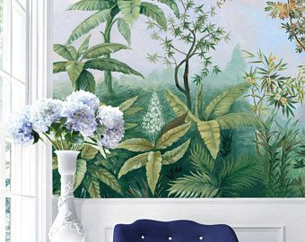 Tropical Forest Removable Wallpaper Vintage Scenic Zuber Style Tropical Leaves Wall Mural Garden Landscape Sel Mural Wallpaper Wallpapers Vintage Nature Motifs