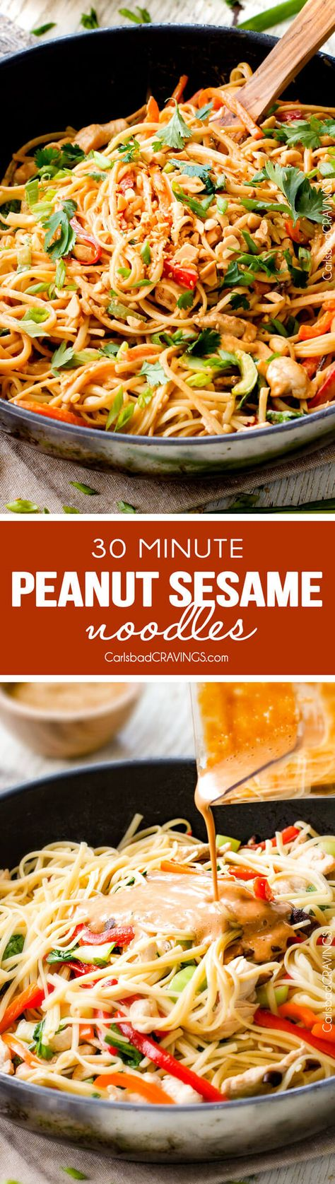 30 Minute Peanut Sesame Noodles (with Chicken and Veggies) - super quick and easy meal all in one with the most amazing creamy peanut sesame sauce you will crave for days! via @carlsbadcraving