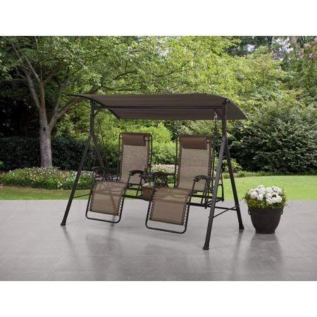 Comfy And Stylish Big And Tall Zero Gravity Outdoor Reclining Porch Swing With Pillow Center Storage Console And Cup Holder Gr Porch Swing Patio Swing Backyard