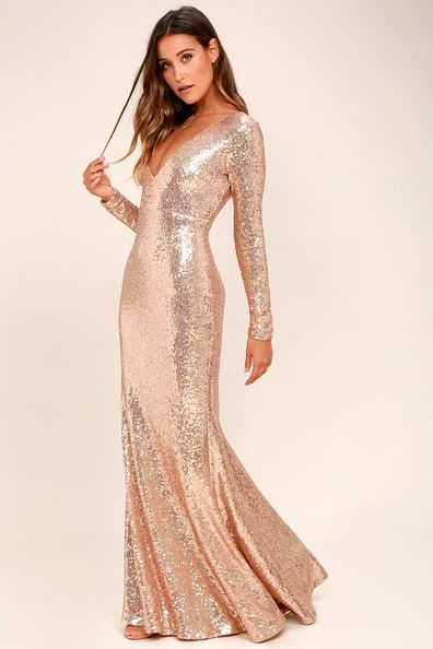 Capture The Moon Rose Gold Long Sleeve Sequin Maxi Dress Gold Dresses Long Long Sequin Dress Long Sleeve Sequin