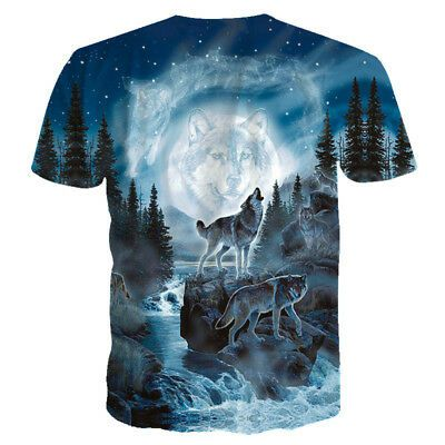 Wolf Graphic 3d Print Mens Womens Summer Casual T-Shirt Short Sleeve Tee Tops