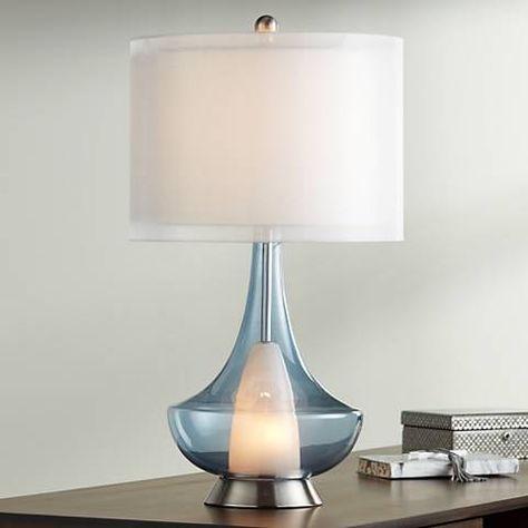Judith Smoke Gray Glass Modern Night Light Table Lamp