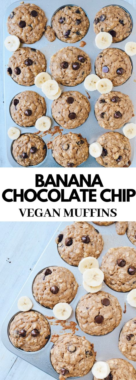 Warm & fluffy banana chocolate chip muffins. A healthy dessert option or you can meal prep these muffins for an easy grab-and-go breakfast during the week. You will love this easy baking recipe! #muffins #bananamuffins #dairyfreemuffins #veganbaking #breakfastmuffins #bananachocolatechip #veganmuffins #breakfast #breakfastidea