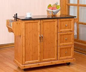 I found a Bamboo 2-Door Kitchen Cart with 3-Drawers at Big ...
