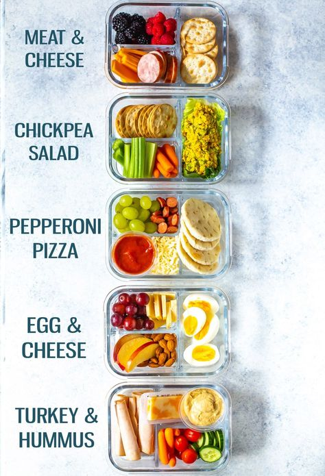 These Healthy Bento Lunch Box Recipes are perfect for back to school and are like adult lunchables! Try pizza, turkey & hummus, egg & cheese and more! Recipes easy Healthy Bento Lunch Box Recipes - 5 Ways - The Girl on Bloor Lunch Box Recipes, Lunch Snacks, Dessert Recipes, Breakfast Recipes, Dinner Recipes, Meal Prep Lunch Box, Snacks For Work, Lunch Kids, Snacks Ideas