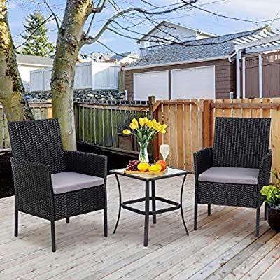 Amazon Com Shintenchi 3 Pieces Outdoor Patio Furniture Set Portable Rattan Ch Outdoor Patio Furniture Sets Wicker Patio Furniture Set Outdoor Patio Furniture
