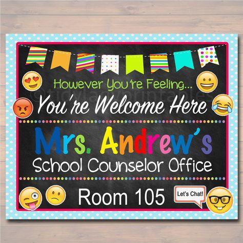 School Counselor Emoji Door Sign - Editable Template