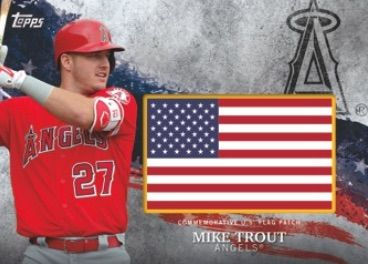 Mlb Independence Day Flag Patch Mike Trout Baseball Cards Sports Cards Baseball