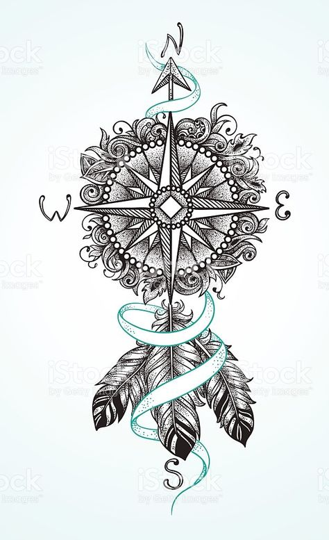 Compass with an arrow and feathers in a graphic style royalty-free stock vector art