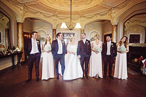 Beautiful photo of the wedding party in the stunning surroungings of the Borris House. Groomswear by Louis Copeland & Sons Reception: Borris House. Photography by: Katie Kav Photography