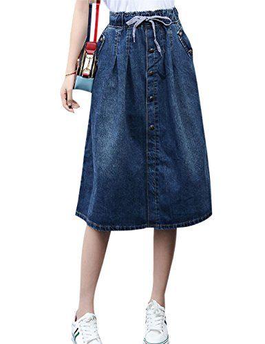 Tanming Womens Elastic High Waist Denim Midi Jean Skirts