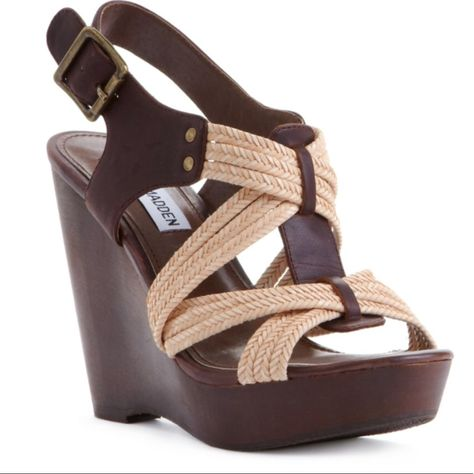 Steve Madden Shoes | Wood & Leather Wedge Heel | Color: Brown/Cream | Size: 7.5