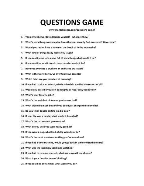 LIST OF QUESTIONS GAME-1