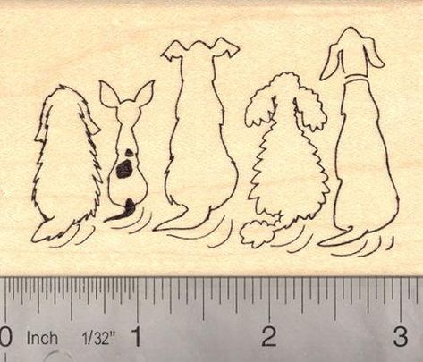 Tails Wagging Dog Rubber Stamp