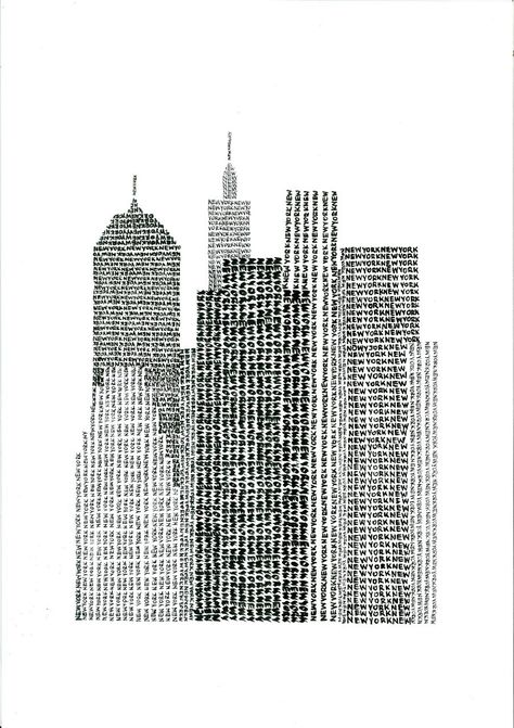 New York Typographic Art Print Handwritten By Yantree Travel