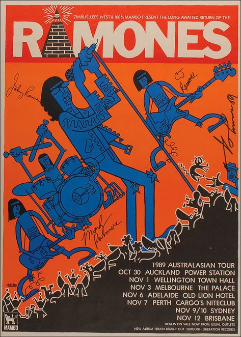 Ramones 1989 Australia tour poster designed by Richard Allen {100% Mambo}, signed by Ramones - auction of Joey ramones items.