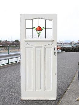 生命力を感じる花モチーフのステンドグラス 英国アンティークの