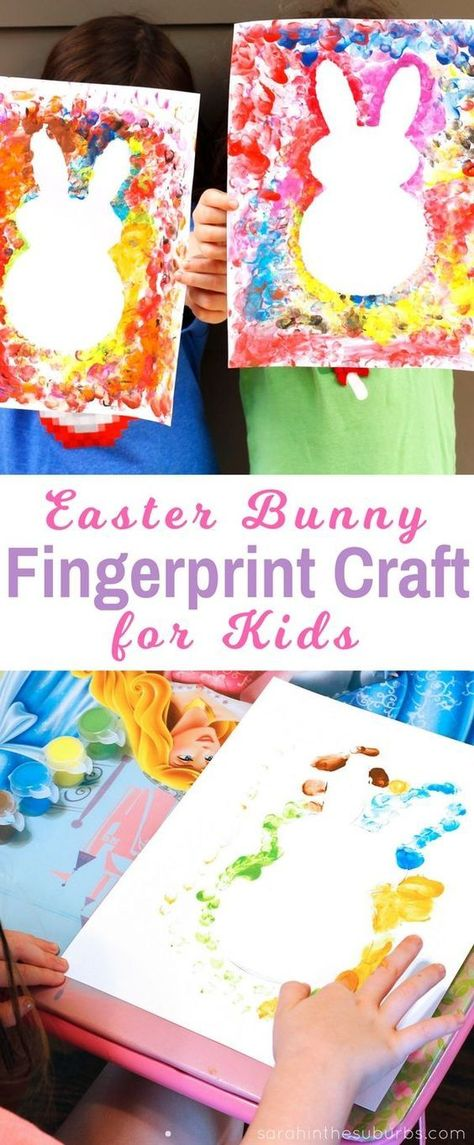 Easter bunnies are so cute and perfect for the spring season! Let your kids make their own Easter bunny fingerprint craft with this easy DIY tutorial. #fingerprintcraft #craftsforkids #easter #holidaycraft #diy manualidades tutorials Simple Finger Paint Easter Craft - Sarah in the Suburbs
