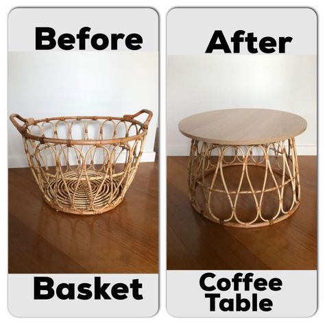 How To Make a Basket Coffee Table On A Budget Love the basket table look but hate that crazy price? DIY it instead. Coffee Table Hacks, Rattan Coffee Table, Round Coffee Table Diy, Ikea Coffee Table, Coffee Table With Baskets, Ikea Table Hack, Coffee Table Decor Living Room, Coffee House Decor, Rattan Side Table
