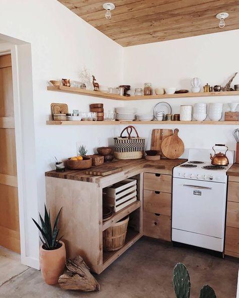 kitchen | boho home decor | bohemian house decor | interior design | wooden kitchen | rustic | wall shelves | open storage | floating shelf | tropical