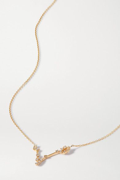 Sarah Sebastian Celestial Pisces 10 Karat Gold Diamond Necklace Modesens In 2020 Gold Diamond Necklace Sarah Sebastian Diamond Necklace