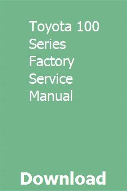 Toyota 100 Series Factory Service Manual Toyota Transmission