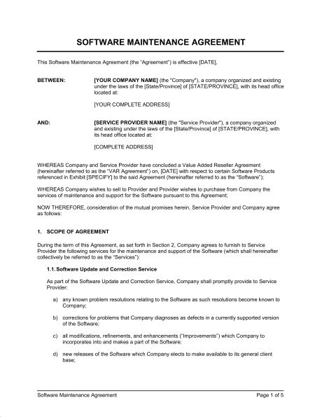 Software Maintenance Agreement VAR - Template \ Sample Form - auto purchase agreement